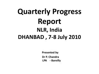 Activity Completion Report 2010 1 st  & 2 nd  Quarter
