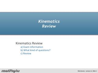 Kinematics Review