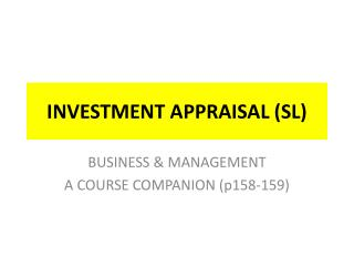 INVESTMENT APPRAISAL (SL)