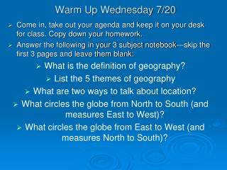 Warm Up Wednesday 7/20