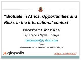 """ Biofuels in Africa :  Opportunities and Risks in the International context"""