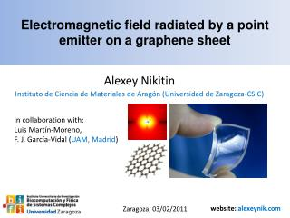 Electromagnetic field radiated by a point emitter on a graphene sheet
