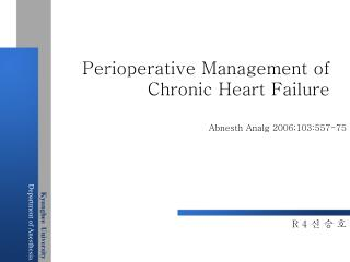 Perioperative Management of Chronic Heart Failure