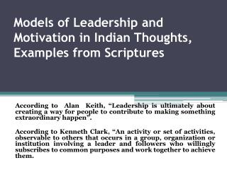 Models of Leadership and Motivation in Indian Thoughts, Examples from Scriptures