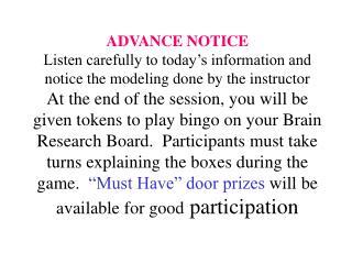 BRAIN RESEARCH Bingo Card