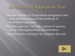 Investment Appraisal Test