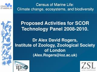 Census of Marine Life:  Climate change, ecosystems, and biodiversity