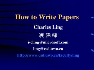 How to Write Papers