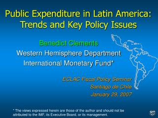 Public Expenditure in Latin America: Trends and Key Policy Issues
