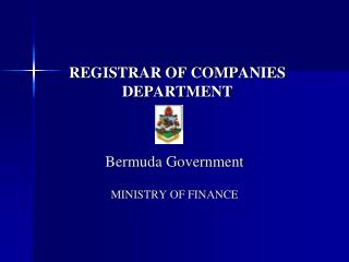 REGISTRAR OF COMPANIES DEPARTMENT