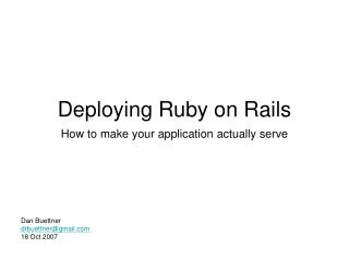 Deploying Ruby on Rails