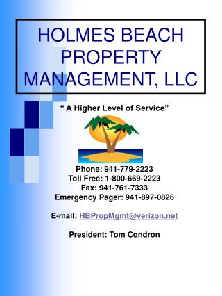 HOLMES BEACH  PROPERTY MANAGEMENT, LLC