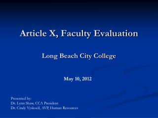 Article X, Faculty Evaluation Long Beach City College