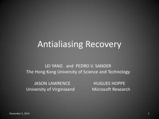 Antialiasing Recovery