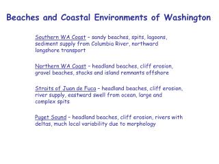 Beaches and Coastal Environments of Washington