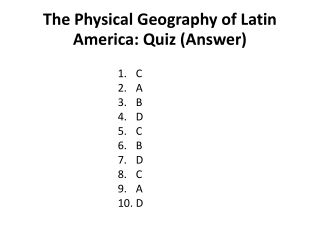 The Physical Geography of Latin America