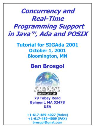Concurrency and Real-Time  Programming Support in Java™, Ada and POSIX