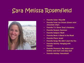 Sara Melissa Rosenfield