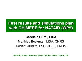 First results and simulations plan with CHIMERE for NATAIR (WP5)