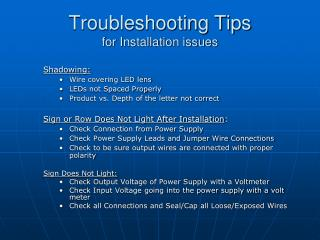 Troubleshooting Tips for Installation issues