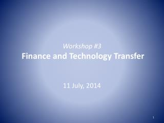 Workshop #3 Finance and  Technology Transfer