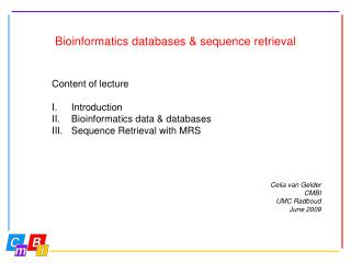 Bioinformatics databases & sequence retrieval