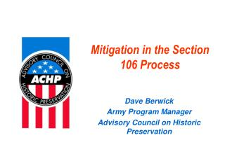 Mitigation in the Section 106 Process