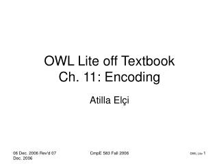 OWL Lite off Textbook Ch. 11: Encoding