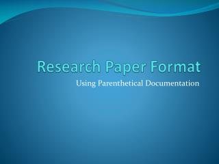 Research Paper Format