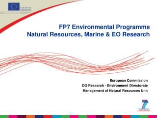 FP7 Environmental Programme Natural Resources, Marine & EO Research