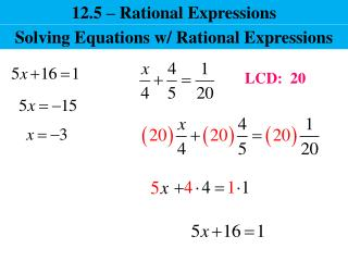 12.5 – Rational Expressions