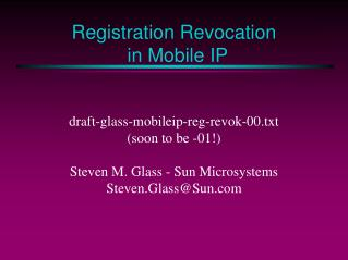 Registration Revocation in Mobile IP