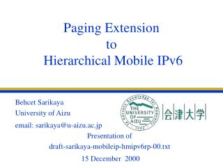 Paging Extension  to   Hierarchical Mobile IPv6