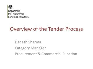 Overview of the Tender Process