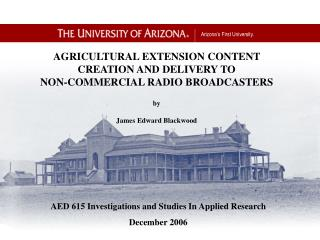 AED 615 Investigations and Studies In Applied Research December 2006