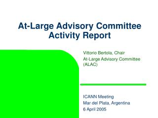 At-Large Advisory Committee Activity Report
