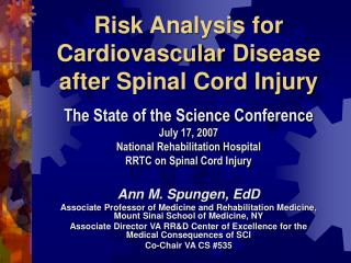 Risk Analysis for Cardiovascular Disease after Spinal Cord Injury