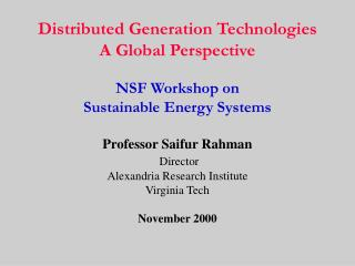 Distributed Generation Technologies A Global Perspective