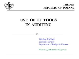 USE  OF  IT  TOOLS  IN  AUDITING