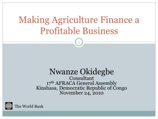 Making Agriculture Finance a Profitable Business