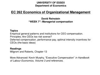 UNIVERSITY OF ESSEX Department of Economics EC 262 Economics of Organizational Management