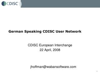 German Speaking CDISC User Network