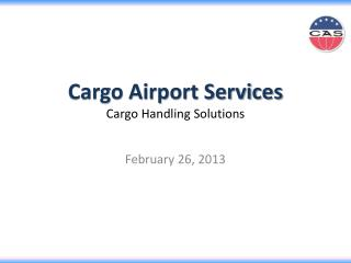 Cargo Airport Services Cargo Handling Solutions