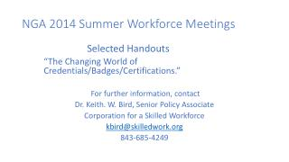 NGA  2014 Summer Workforce Meetings