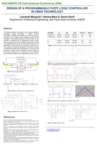 Design of a Programmable Fuzzy Logic Controller in CMOS Technology