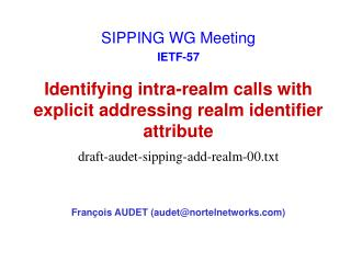 Identifying intra-realm calls with explicit addressing realm identifier attribute