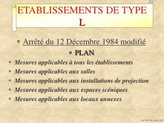 ETABLISSEMENTS DE TYPE  L