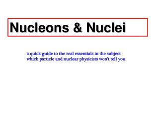 Nucleons & Nuclei