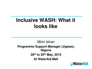 Inclusive WASH: What it looks like