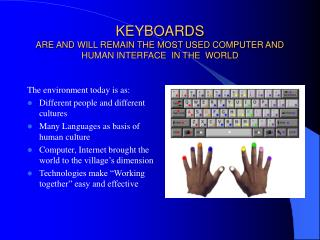 KEYBOARDS ARE AND WILL REMAIN THE MOST USED COMPUTER AND HUMAN INTERFACE  IN THE  WORLD